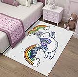 Schlafzimmer Prinzessin Raumdekoration Großer Teppich, Cartoon Niedlichen Einhorn-Druck, Baby Krabbeln Rutschfeste Matte 120x160cm