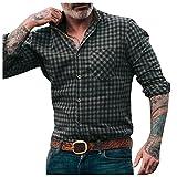 TEELONG Herren Hemden Regular Fit, Lässiges Hemd mit Polka Dot Karomuster Langarm Button-Down Stehkragen Oberteile