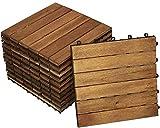SAM Terrassenfliese 01, Akazienholz, 40 Fliesen für 3,6m², 30x30cm, Bodenbelag mit Drainage, klick-Fliesen, Balkon, G