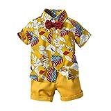 Samore Baby Jungen Bekleidungssets Outfits Set, 0-5 Jahre Kleinkind Kinder Baby Boys Gentleman Blumendruck Kurzarm Tops T-Shirt Shorts Kinder Strandbekleidung Set