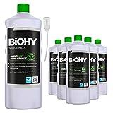 BiOHY Scheuermilch (6x1l Flasche) + Dosierer | entfernt eingebrannte Speisereste mühelos | gründliche Reinigung ohne zu kratzen | schonend zu Haut & Umwelt | für Emaille, Keramik & Edelstahl