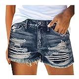 JIECHU Jean Shorts für Frauen Distressed Ripped Denim Shorts Stretchy Frayed Raw Hem Lässige Sommer Short Pants mit Taschen