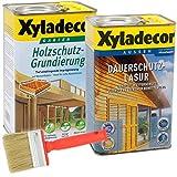 Xyladecor Dauerschutzlasur und Grundierung, UV Holz-Lasur für außen im Set, mit Pinsel (1x 2,5L + 1x 2,5L, eiche hell)