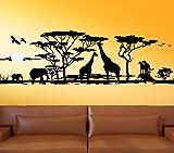 Wandora G012 Afrika Savanne Giraffe Elefant Steppe Wandaufkleber Wandsticker schwarz (BxH) 150 x 46
