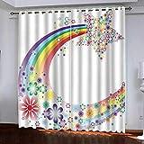 MEKVF Thermovorhänge Regenbogen Fünfzackiger Stern 220x215cm(Wxl) 2 Panels Super Soft Ring Top Verdunkelungsvorhänge Für Schlafzimmer Vorhang & Jalousie