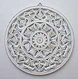 Meinposten. Wandornament weiß Shabby Ornament Wanddeko Holzbild Holzornament (Ø 35 cm)