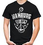 Hamburg Anker Männer und Herren T-Shirt | Stadt Reeperbahn Anchor ||| (4XL, Schwarz)