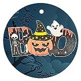 Halloween HolzchipAnhänger Dekoration Runder Holzanhänger Home Kürbis Atmosphäre Holzdekoration für Zuhause, Büro, Garten, Bar, Café