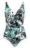 LA ORCHID Laorchid einteiliger Badeanzug bademode v Ausschnitt Damen Badeanzug bauchweg Push up große größen Schwimmanzug Raffung Bikini Grüne große Blatt XXL