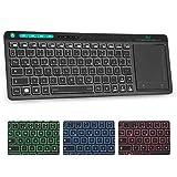 Rii K18 Plus Kabellose TV-Tastatur mit Touchpad, Beleuchtet Tastatur mit 3 LED Hintergrundbeleuchtung für Smart TV/Laptop/Mac/PC/Android/Windows (Deutsch Layout,Schwarz)