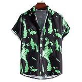 DYXYH Sommer Ethnische Stil Vintage Druck Mann Hemd Herren Umlegekragen Kurzarm Lose Hawaiian (Color : Green, Size : S code)