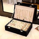 erddcbb Schmuckkästchen mit großer Kapazität, für Damen Damen Mädchen, Multifunktions-Schmuckkästchen, für Ringohrring Halskette Armband Aufbewahrungskoffer, Geschenk-Schwarz 28 * 20 * 8cm