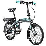 20 Zoll Leader Fox Tifton E-Bike Elektro Faltrad Klapprad LG 576 Wh BAFANG Grau Türkis