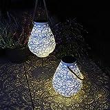 Gadgy Solar Laterne Weiß | 2 Stück | LED Laterne Für Außen Wasserdicht | Orientalische Solarleuchten für Draußen | Garten, Balkon oder Terrassen-Beleuchtung | Metall und S