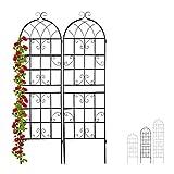 Relaxdays Rankgitter Metall, 2er Set, zum Stecken, Rankhilfe für Kletterpflanzen, 180 x 50 cm, Spalier Garten, schw