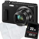 1A PHOTO PORST Starter Angebot Panasonic Lumix DMC-TZ58EG-K Schwarz+ SD 32GB Speicherkarte+ Mikrofasertuch