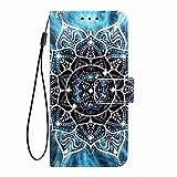 Hülle Handyhülle Kompatible mit Motorola Moto E7 Flipcase 3D Glitzer Sparkle Tasche Handytasche Geldklammern Wallet Schutzhülle Magnet Ständer Anti-Fall Kunstleder Etui Mandala