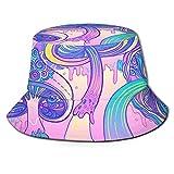 Fischerhut 3D Pilz Trippy Zeichnung Corlorful Stars Faltbarer Eimer Hut Sommer Sonnenhut für Männer Frauen Schwarz