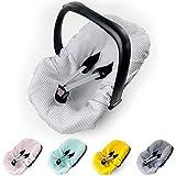 Sommerbezug Babyschale Bezug Universal z. B. Maxi Cosi 100% Waffel Baumwolle Schonbezug Babyschalebezug Kindersitzbezug Waffelpique silber