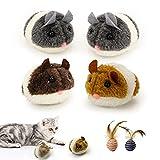 6 Stück Interaktives Katzenspielzeug, 4 Stück Katzenspielzeug Maus Beweglich und 2 Stück Katzenspielzeugball mit Feder, Naturgetreuen Katzenspielzeug Automatische Maus aus Flauschigem Plüsch (H01)