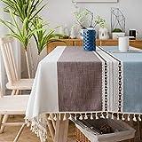 SUNBEAUTY Tischdecke Rechteckig Abwaschbar Baumwolle Tischdecke Leinen Tischtuch Tischwäsche Landhausstil 140x220 cm mit Quaste für Home Küche Speisetisch Dekoration