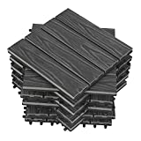 WOLTU 11 x Premium WPC Terrassenfliesen 30x30cm Holz Optik mit Relief, Balkonfliesen Garten Fliesen Bodenbelag Hellgrau (1 m²)