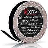 Reorda® Metallband in Schwarz (6m) - Ideal für Tonie Tribüne, Magnete & Tonie Figuren dank hohem Metallanteil - Metallband Selbstklebend ist dank biegsamen Material an vielen Oberflächen verwendb