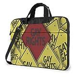 AOOEDM Homosexuell Regenbogen Farbmuster und Zitat Liebe ist Liebe Vintage Laptop Tragetasche Umhängetasche Aktentasche W/Strap Frauen Männer 14 '