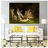 MGSHN William Adolphe Bouguereau 《Das Nymphäum (nackte Schönheit)》 Abstrakte Malerei Reproduktionsbild Wohnzimmerdekoration Druck auf Leinwand 60x80cm ohne Rahmen