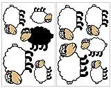 Samunshi® 10x Wandtattoo Süße Schafe Set Wandbilder Kinderzimmer Deko Junge Wandtattoo Kinderzimmer Mädchen Wandsticker Kinderzimmer 2X 16x26