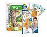 tiptoi Ravensburger Set: Wieso? Weshalb? Warum? | Komm mit in den Wald (Kinderbuch) + 00036 Der Stift - WLAN-Edition + 2X Create-Sticker
