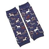 la.nunu Stulpen für Mädchen - Pferde Blau 2-3 Jahre - Kinderstulpen aus Baumwolle - Handarbeit - Baby Kinder Beinstulpen Babystulpen