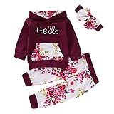 Borlai 3-teiliges Baby Mädchen Kapuzenpullover-Set Hello Print Kapuzenpullover mit Hose, 1-5 Jahre