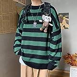 QPRER Autumn Striped Sweater Für Herren Casual Langarm Patchwork Sweater Slim Sportswear Pullover Herrenmode Jacke Schwarz Grün,XXXL