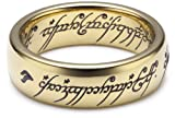 Herr der Ringe Unisex-Ring 'Saurons Ring' aus dem kleinen Hobbit Wolfram PVD vergoldet 3009-050