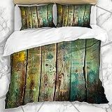 Soefipok Bettbezug-Sets Bodenbelag Grün Rustikal Altholz Holz Vintage Antik Robust Wandverkleidung Mikrofaserbettwäsche mit 2 Kissenbezüg