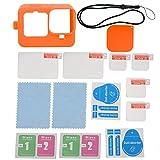 PUSOKEI Kit Zubehör Schutzsets Komplettes Zubehör für Gropo 9, Silikonhülle + Bildschirm + Objektivdeckel Handschlaufe + Folienverpackungsbox + Reinigungsbeutel Kit + Aufkleber(Orange)