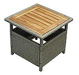 DEGAMO Beistelltisch Trento 45x45cm, Polyrattan naturgrau, Tischplatte Ak