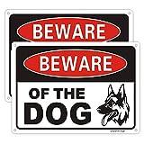 "Uflashmi Warnschild ""Beware of Dog"" für Zaun Hof, Hundewarnschild, Aluminium-Metall, 2 Stück, 17,8 x 25,4"