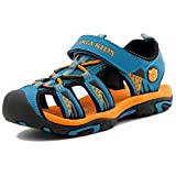 Sommer Sandalen Jungen Ultraleicht Geschlossen Trekking Wandern Schuhe Mädchen Unisex Kinder Outdoor Sport Strand mit Klettverschluss Blau A 35 EU