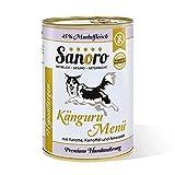 Sanoro Menü Hypoallergen Känguru - Premium-Hundefutter in Teil-Bio-Qualität - Känguru mit Bio-Karotte, Bio-Kartoffel und Bio-Amaranth - singleprotein (12 x 400g)