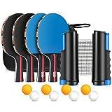 XDDIAS Tischtennis Set, 4 Sport Tischtennisschlaeger/Schlägern+ 8 Tischtennisbällen+Verstellbare Netz - Ideal für Draussen Innen Aktivität