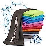 Fit-Flip Kühlendes Handtuch 100x30cm, Mikrofaser Sporthandtuch kühlend, Kühltuch, Cooling Towel, Mikrofaser Handtuch, Farbe: schwarz, Größe: 100x30cm