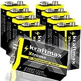 kraftmax 8er Pack Xtreme 9V Block Hochleistungs- Batterien ideal für 10 Jahres Rauchmelder - 6LR61 9 Volt Longlife Blockbatterie mit maximaler Leb