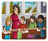 Lehrer Mauspad, Klassenzimmer Cartoon von glücklichen Kindern mit ihrer Erzieherin in der Schule Bild, Rechteck rutschfeste Gummi Mousepad, Standard Multicolor