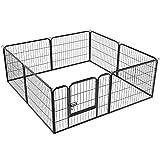 Yaheetech Welpenauslauf Laufgitter Welpenfreigehege Hundegehege Laufstall mit Tür Zaun Gitter Welpen Hasen Kaninchen 8-Eck