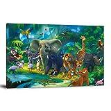 FINDEMO Dschungeltiere, bunt, wilde Safari, Abenteuer, Regenwald, Busch, Kinder, Wildnis, 40 x 60 cm