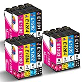 Clorisun T1285 Druckerpatronen für Epson T1281 T1282 T1283 1284 T1285 Schwarz Cyan Magenta Gelb für Epson Stylus Office BX305F SX235W SX420W SX130 SX440W BX305FW Plus SX425W SX430W SX445W(12er Pack)