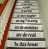 In diesem Haus Treppen V5 Zitat Wandtattoo Zimmer Kunst Vinyl Freude Lächeln glücklich inspiriert Familie Wohntreppen wie schöne inspirierende Lachen Umarmung Traum