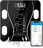 Smart Bluetooth Körper Fett Skala-BMI Digital Badezimmer Drahtlose Gewicht Skala Körper Zusammensetzung Körper Zusammensetzung Analysator mit Smartphone app sync, schwarz
